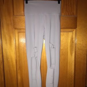 ALO Heather Gray Distressed Workout Leggings